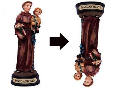 Colocar imagem de Santo Antônio de cabeça para baixo é simpatia tradicional