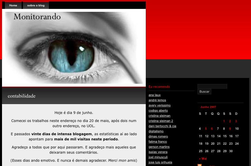 2007: primeiro layout no wordpress