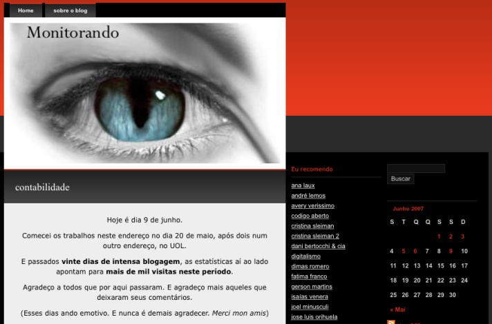 2007: primeiro layout no wordpress